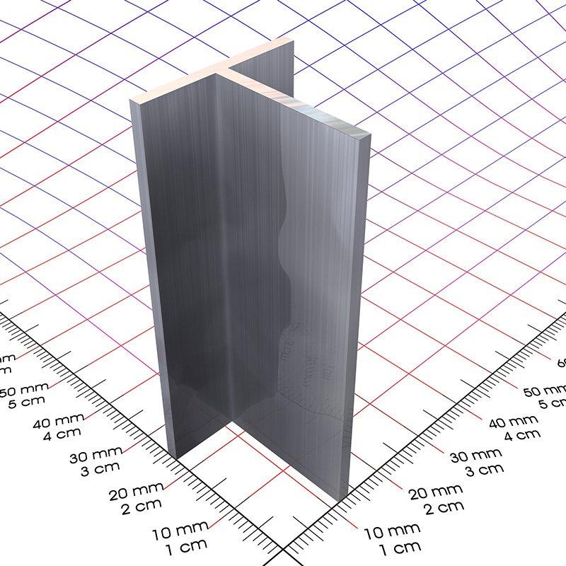 Gut 20 x 20 x 2 mm, Alu T-Profil blank - 3D-Alu Online-Shop KG31