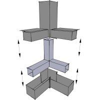 SV30WA+SK Winkel mit Abgang, 30er Steckverbinder mit Stahlkern für Rohr 30x30x2mm