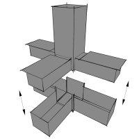 SV25TA, Steckverbinder: T-Stück mit Abgang für Rohr 25x25x1,5mm