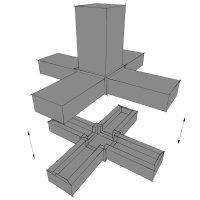 SV25KA, Steckverbinder: Kreuz mit Abgang für Rohr 25x25x1,5mm