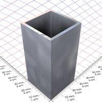 30 x 30 x 2 mm, Alu 4-Kantrohr, blank, 490 mm