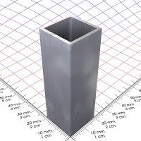 20 x 20 x 1,5 mm, blank, Alu 4-Kantrohr in Fixlängen