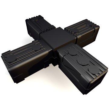 SV30K+SK, Kreuz, Steckverbinder mit Stahlkern, für Rohr 30x30x2mm