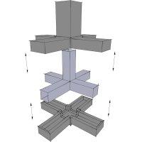 SV30KA+SK, Kreuz mit Abgang, Steckverbinder mit Stahlkern, für Rohr 30x30x2mm