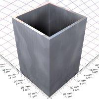 40 x 40 x 2 mm, blank, Alu 4-Kantrohr in Fixlängen