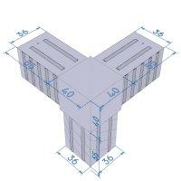 SVe40WA, Steckverbinder Winkel mit Abgang für Rohr 40x40x2mm