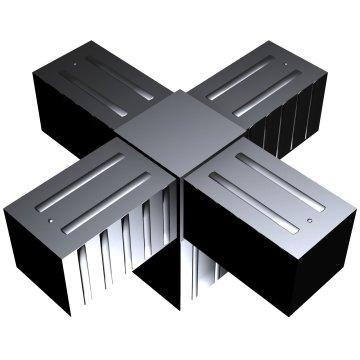 SVe40KA, Steckverbinder Kreuz mit Abgang für Rohr 40x40x2mm