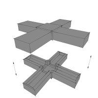 SV30K, Steckverbinder Kreuz für Rohr 30x30x2mm