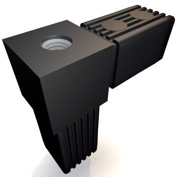 SV30W+M10, Steckverbinder, Winkel mit Gewinde M10, für Rohr 30x30x2mm