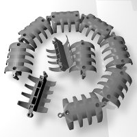 Set mit 10 Elementen wire-snake Kabelkanal - grausilber...