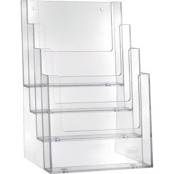 Prospekthalter 4 Fächer A5, hoch, transparent