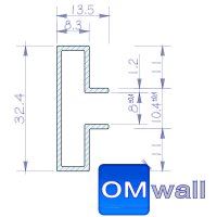 OMwall Profil, Aluminium blank 1500 mm